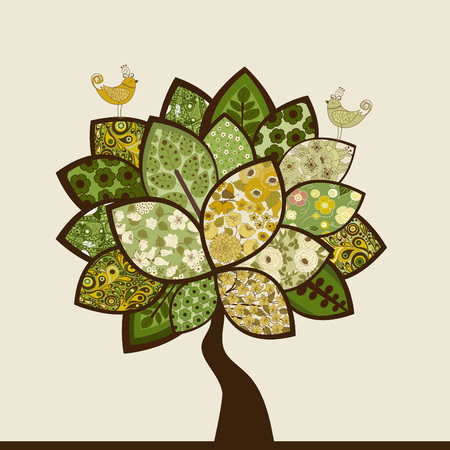 Abstract vector tree with stylized birds on beige background Illustration