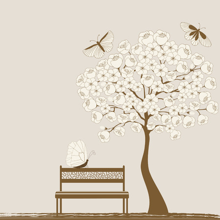 Landscape with tree and butterflies and bench Vector