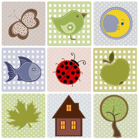 Set of nature textile stickers Vector
