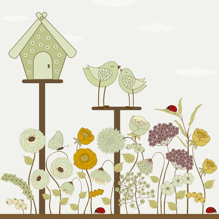 birdhouse: Cute birds with floral birdhouse and spring flowers Illustration