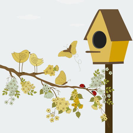 birdhouse: A branch with flowers , birds and butterflies and birdhouse