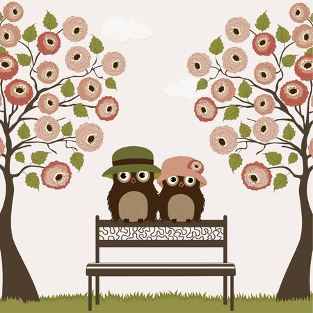 Cute owls with tree roses on a bench Vector