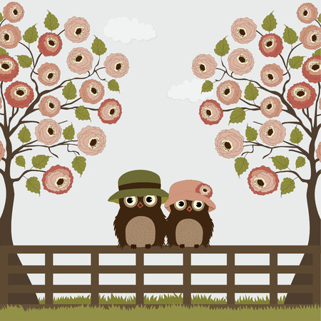 Cute owls with tree roses on a fence Vector