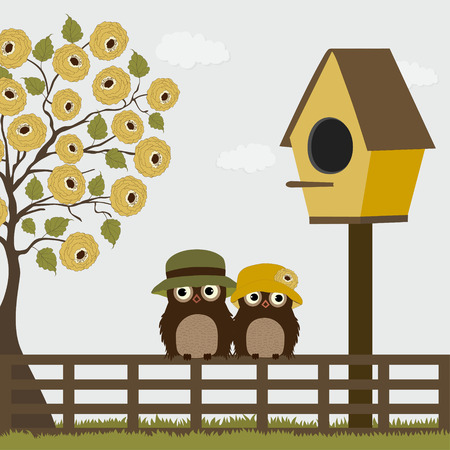 lovebirds: Cute owls on a fence with birdhouse and tree Illustration