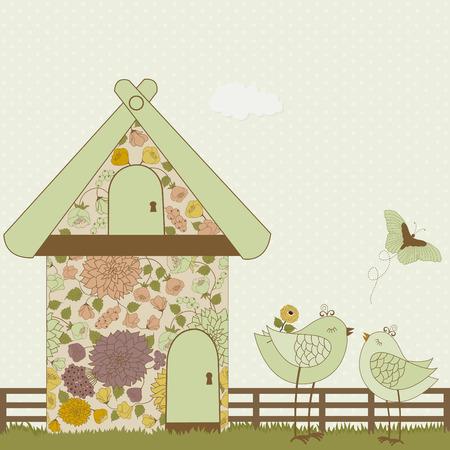 birdhouse: Cute birds and floral birdhouse on polka dots background