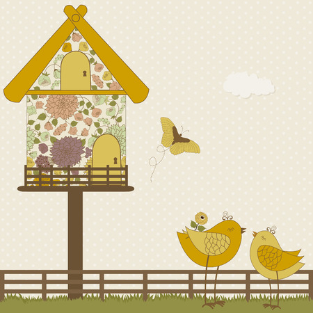 Cute birds and floral birdhouse on polka dots background Vector