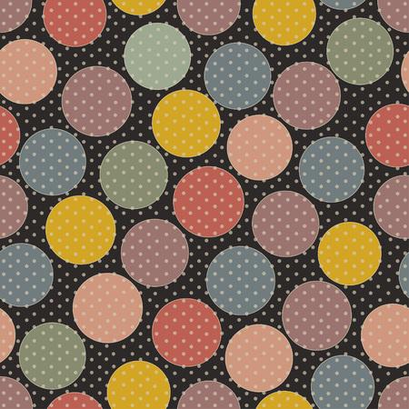 pattern pois: Astratto modello senza saldatura colorata a pois su sfondo nero