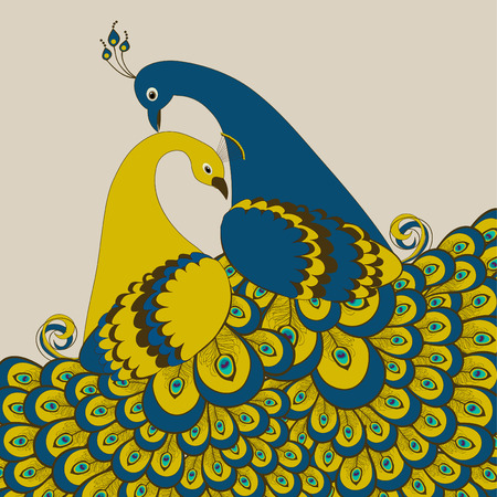 Pair of stylized peacock on beige  background