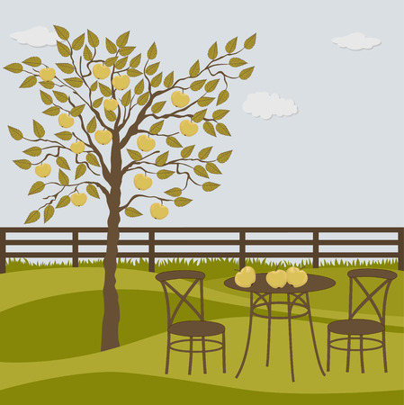 garden chair: Rural landscape with apple tree and table and chairs