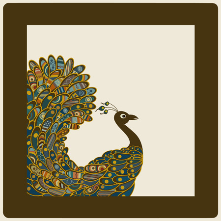 Card with abstract colorful peacock  Vector