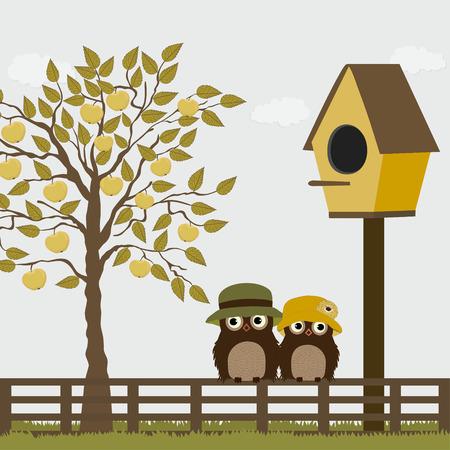 birdhouse: Cute owls on a fence with birdhouse and apple tree