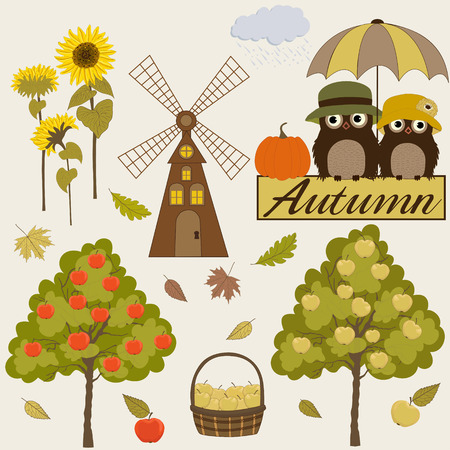 gristmill: Set of autumn icons Illustration