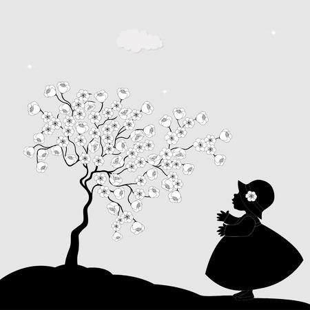 cherry tree: Girl and flowering cherry tree