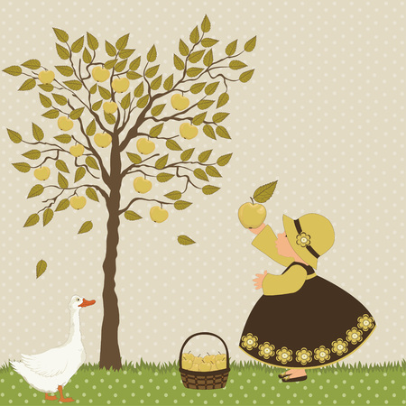 Girl and goose in the garden on polka dot background Vector