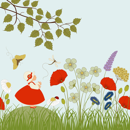 Cute girl in garden with flowers and butterflies Vector