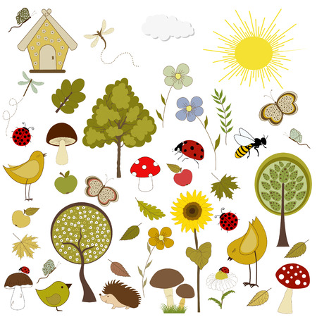 Set of autumn icons isolated on white background Vector