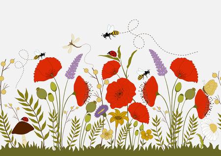 野生のカラフルな花や昆虫、シームレスなイラスト