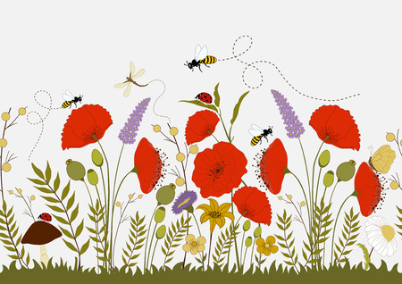 Colorful wild flowers and insects, seamless illustration Vector
