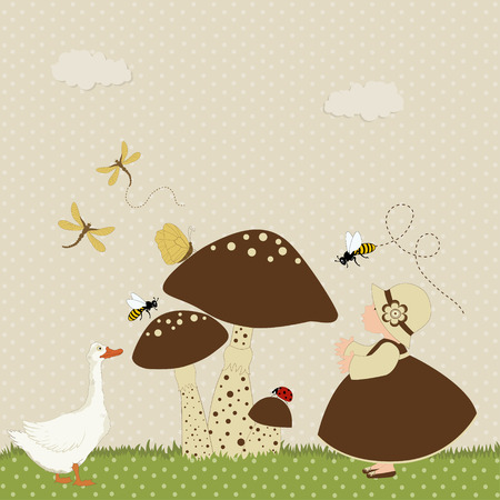 Cartoon card with cute girl and goose next mushrooms on polka dot pattern Vector