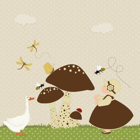 pattern pois: Scheda del fumetto con cute ragazza e oca prossimi funghi su modello polka dot Vettoriali