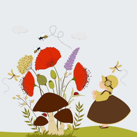 Cartoon card with cute girl next mushrooms and flowers Vector