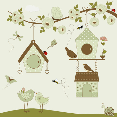 flower ladybug: Cute birds with birdhouse and butterflies, bees, ladybug, snail