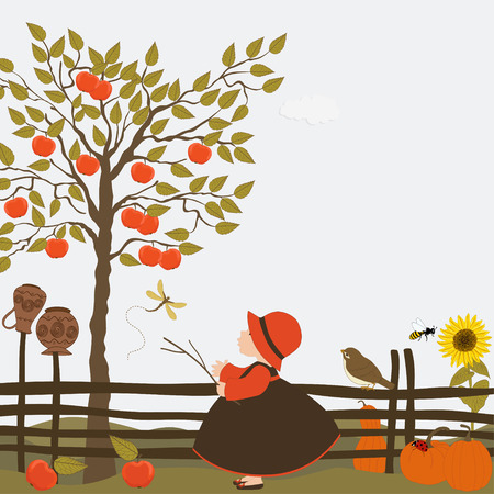 funny fruit: Cute girl in the orchard with apple trees