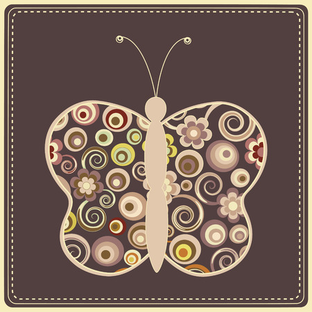 mauve: Greeting card with colorful stylized  butterfly on brown background