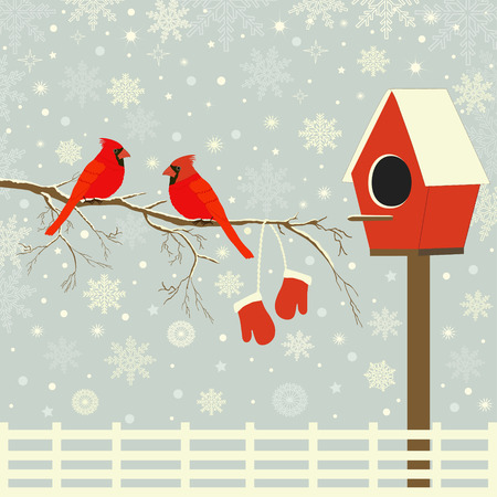 Red birds on branch with snow and birdhouse