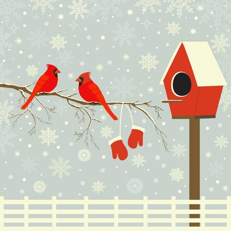 Rode vogels op tak met sneeuw en vogelhuisje Stock Illustratie