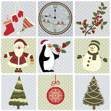 Set of Christmas elements on squares with dots  Vector