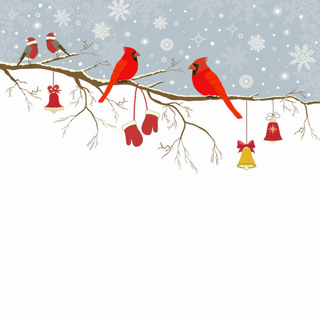 Christmas greeting card a branch with birds and bells