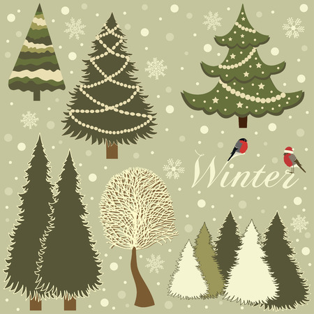 varied: Winter card with trees varied Illustration