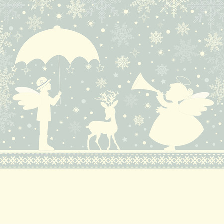 christmas angels: Greeting Christmas card with angels and place for text Illustration