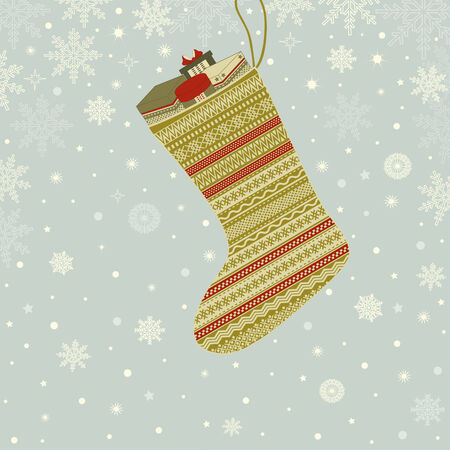 christmas motif: Greeting card with Christmas sock with gifts