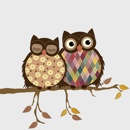 Pair of owls on branch in autumn