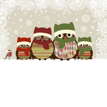 Christmas greeting card with family of owls and place for text Vector