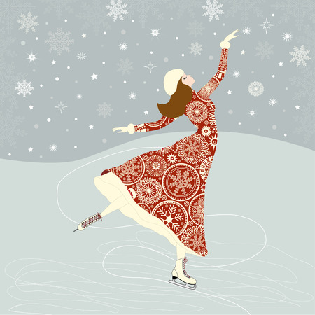 figure skater: Christmas greeting card with a girl skater