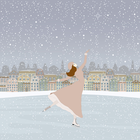 rink: Girl skating at the rink in front of the houses Illustration