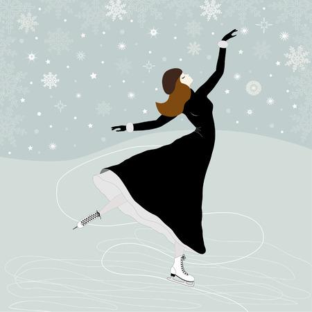Carte de voeux de Noël avec un patineur de fille Banque d'images - 31392301