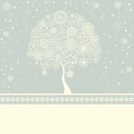 white background: Greeting card with Christmas tree and place for text