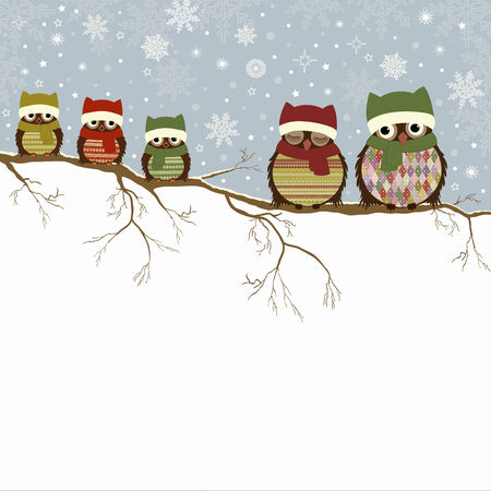 christmas owl: Christmas greeting card with family of owls and place for text Illustration