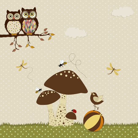 Cartoon card with pair of owls and cute bird on the ball and mushrooms Vector