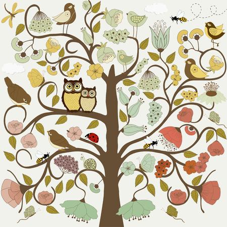Abstracte gestileerde boom met bloemen en vogels