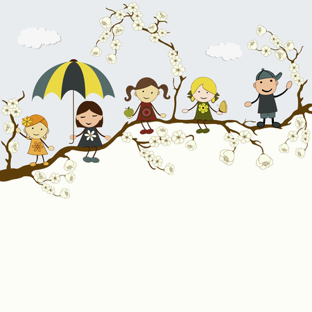 cartoon umbrella: Greeting card with cute happy cartoon kids and place for text