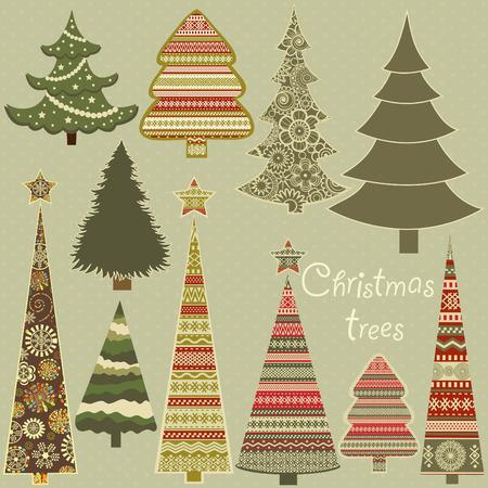 Set of stylized Christmas trees on green background