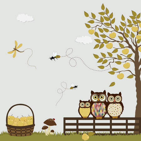 A family of owls in a orchard with apples Vector