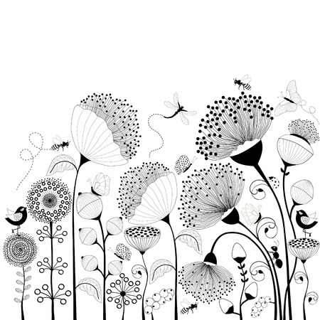 butterfly vintage: Card with black and white flowers Illustration