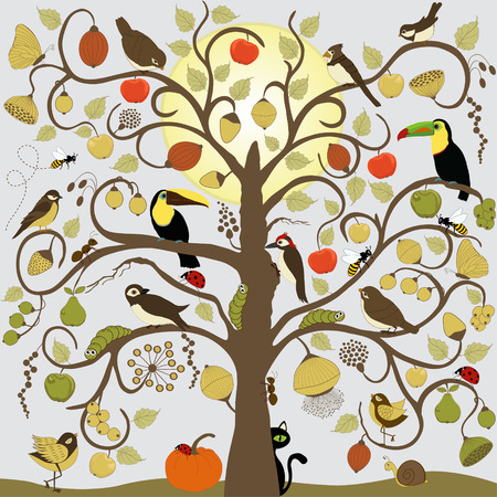 apple snail: Abstract stylized tree with birds, insect and fruit