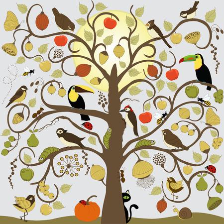 ant leaf: Árbol estilizado abstracto con los pájaros, los insectos y fruta